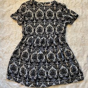 Love 21 Black and White Damask A-Line Dress XS